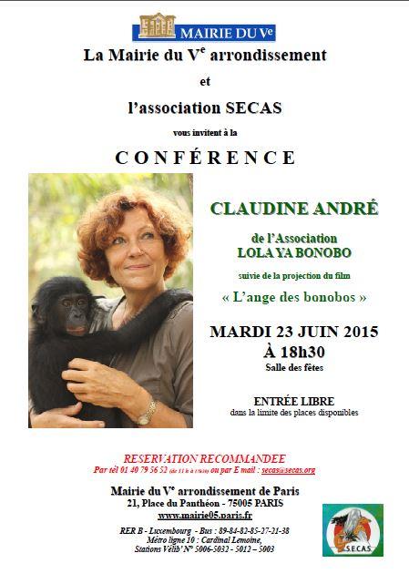Conférence de Claudine André, association Lola Ya Bonobo, le 23 juin 2015 à Paris 5e