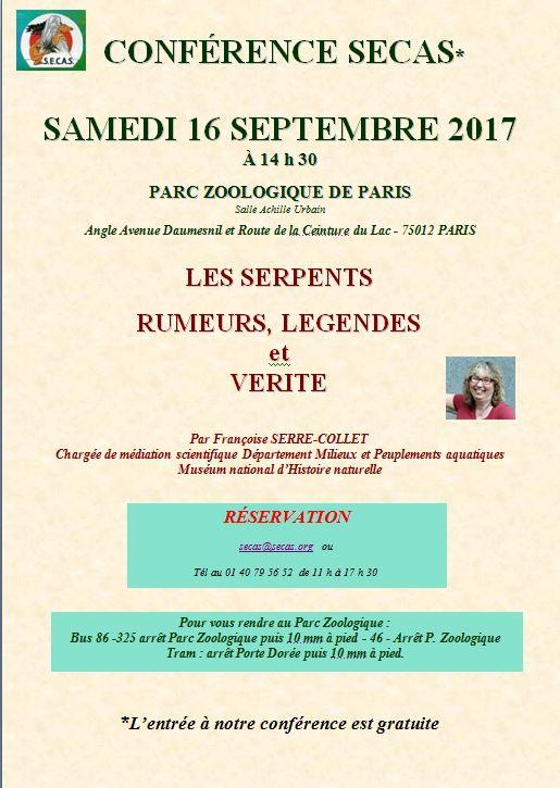 Affiche conference serpents 16 septembre 1