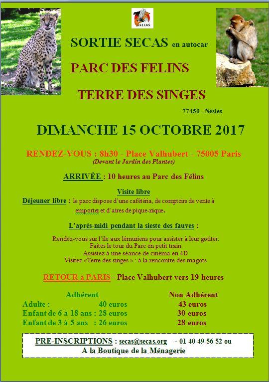 Affiche site parc des felins octobre 2017