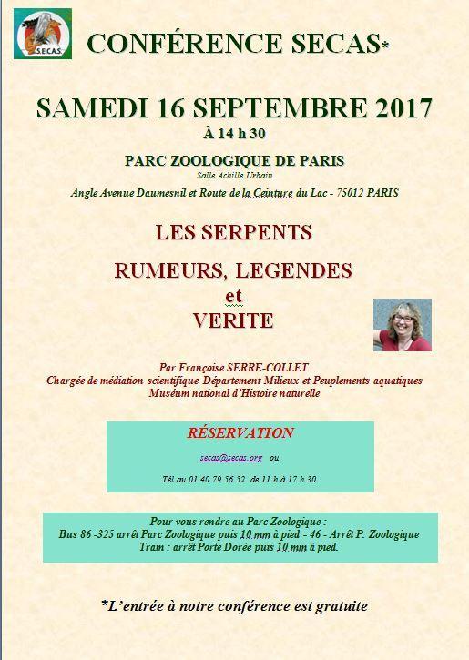Affiche conference serpents 16 septembre 1